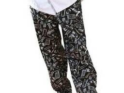 Поварские брюки, на резинке свободного кроя
