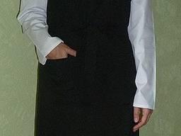 Поварской фартук с нагрудником черный, ткань габардин