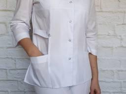 Поварской костюм женский. Ткань: батист, цвет белый, рукав 3/4, кнопка