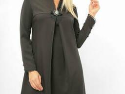 Праздничное женское платье с брошью Lipar Черное Батал
