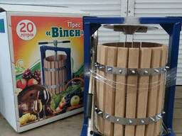 Пресс для винограда, яблок 20 литров с деревянной корзиной