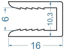 Притискна планка для вентилюючих фасадів 16х10.25х6.15