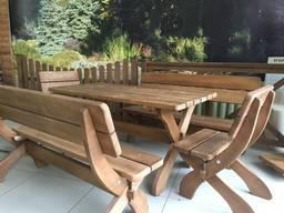 Продам комплект садовой мебели. Деревянный стол, скамья