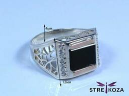 Продам серебряное мужское кольцо с золотой напайкой