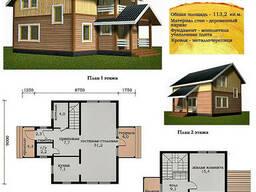 Проект каркасно-щитового дома 113, 2 м2. Проект дома. ..