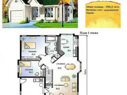 Проект каркасно-щитового дома 96 м2. Проект дома. ..