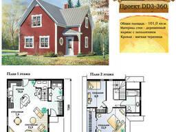 Проект каркасно-щитового дома с заполнением 101 м2. .. .