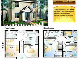 Проект каркасно-щитового дома с заполнением 109 м2. .. .