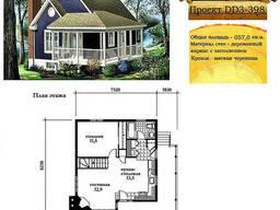 Проект каркасно-щитового дома с заполнением 57 м2. Проект. ..