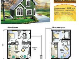 Проект каркасно-щитового дома с заполнением 88 м2. Проект. ..