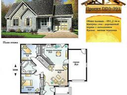 Проект каркасно-щитового дома с заполнением 91, 2 м2. .. .