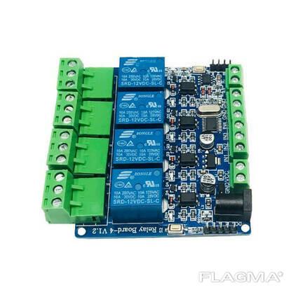 Программируемый 4-канальный релейный модуль с оптоизолированным RS485 STM8S103F3