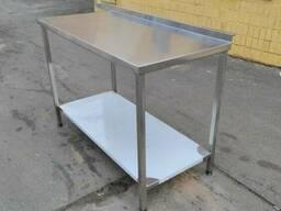 Производственные столы СП из нержавейки с бортом и полкой