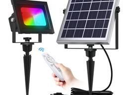 Прожектор на солнечной батарее 60 LED цветной RGB с пультом управления светильник фонарь