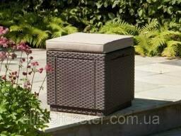 Пуф зі штучного ротангу Cube with cushion темно-коричневий (Allibert)