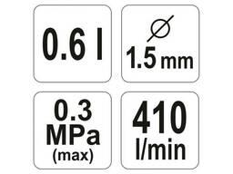 Пульверизатор YATO HVLP 1. 5 з верхнім баком 0. 6 л