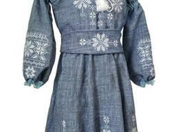 Пышное платье с поясом для девочки в цвете джинс