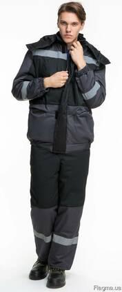 Костюм рабочий зимний серый с полукомбинезоном