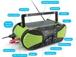 Радиоприемник динамо радио на солнечной фонарь FM MP3 USB TF
