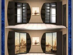 Радиусный и угловой шкаф-купе с раздвижными дверьми/фасадами