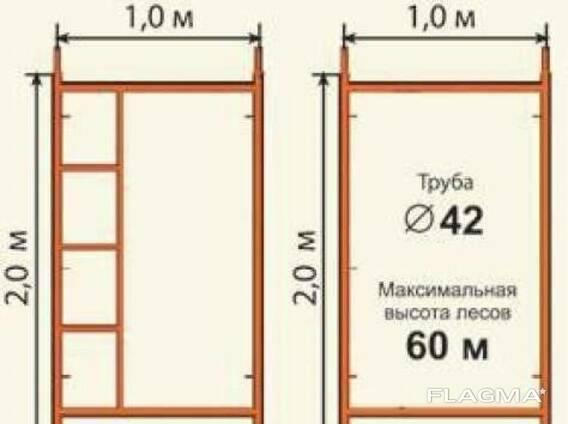 Леса строительные фасадные (Рама с лестницей)