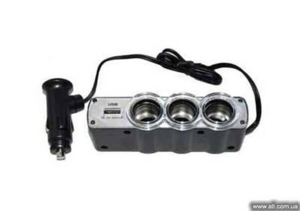 Разветвитель-тройник автомобильный 12v + USB порт