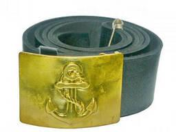 Ремень солдатский кожаный с латунной бляхой Якорь