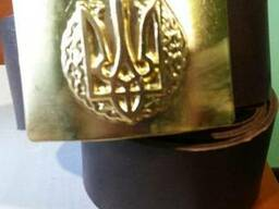 Ремни армейские кожаные с пряжкой латунь с Гербом