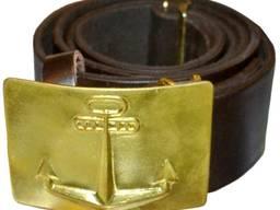 Ремни для солдат армейские кожаные с якорем, морские