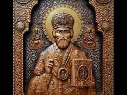 Резьба по дереву икона Святой Николай Чудотворец