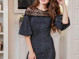Романтичное люрексовое платье с рукавами фонариками 6714