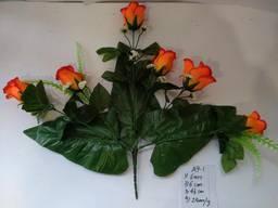 Роза искусственная 6 бутонов, цветные бутоны с добавками