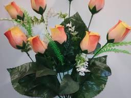 Роза искусственная 9 бутонов
