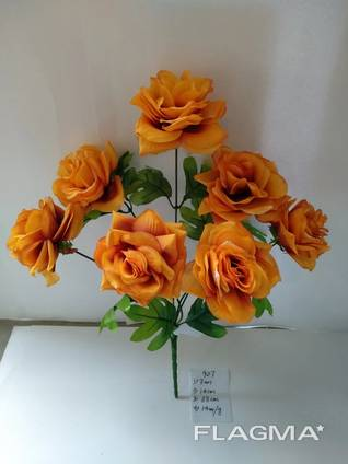 Роза садовая искусственная 7 бутонов