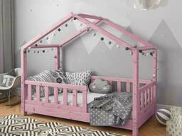 Рожева ліжечко для дітей у вигляді будиночка для діток