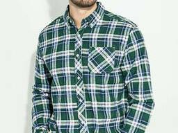 Рубашка мужская сине-зеленая клетка, воротник на пуговицах 276V003