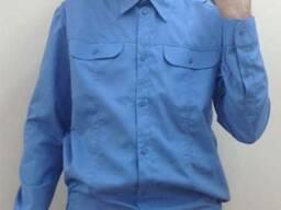 Рубашка форменная мужская с длинным рукавом , синяя