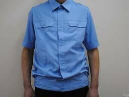 Рубашка классическая мужская с коротким рукавом, голубая
