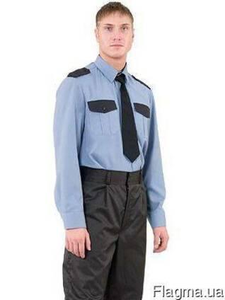 Рубашка охранника голубая, комбинированная, с длинным рукавом,