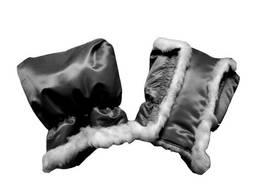 Рукавички-муфта для санок меховые черный