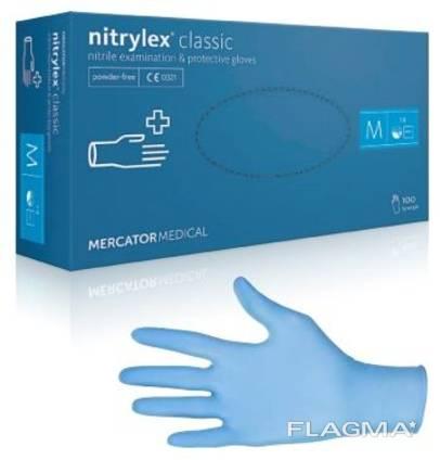 Рукавички, перчатки нітрилові, нитриловые, Nitrylex Classic Mercator Medical, нитрилекс.