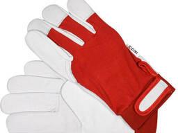 Рукавиці робочі біло-червоні YATO : бавовна + шкіра, розмір 9