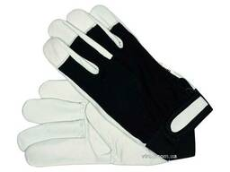 Рукавиці робочі біло-чорні YATO бавовна + шкіра розмір 10