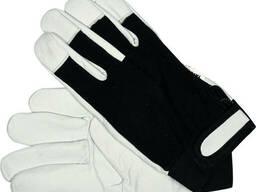 Рукавиці робочі біло-чорні YATO : бавовна + шкіра, розмір 9