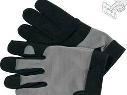 Рукавиці робочі чорно-сірі YATO : для сенсорних екранів, штучна шкіра +бавовняний. ..