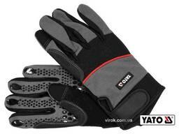 Рукавиці робочі з застібкою-липучкою YATO штучна шкіра + синтетична тканина розмір 10