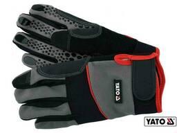Рукавиці робочі з застібкою-липучкою YATO штучна шкіра + синтетична тканина розмір 9