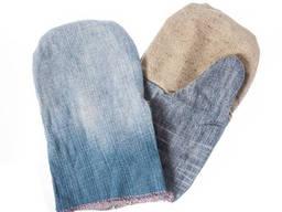 Рукавицы джинсовые с двойным налад. из брезента и джинса