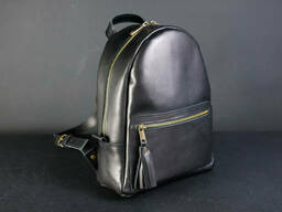 Женский кожаный рюкзак Лимбо, размер мини Итальянский краст цвет черный