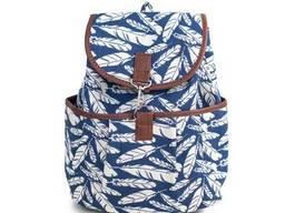 Рюкзак с цветочным принтом Boho Leaf patterns синий. ..